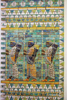 Photograph - Three Warriors On Ancient Wall From Babylon by Patricia Hofmeester