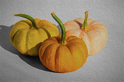 Photograph - Three Wee Pumpkins by Cathy Kovarik