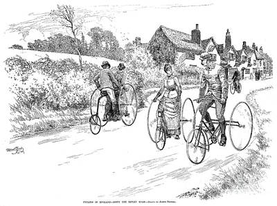 Three Wheel Bicycles, 1887 Art Print by Granger