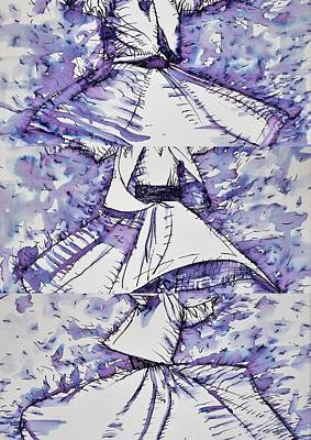Drawing - Three Whirling Sufis by Fabrizio Cassetta