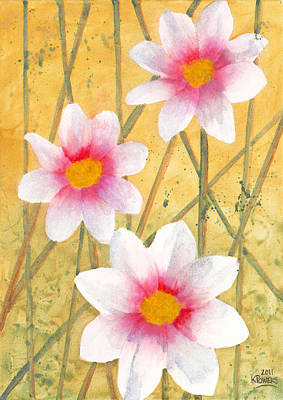 Painting - Three White Flowers by Ken Powers