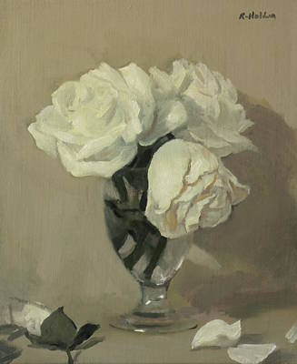 Painting - Three White Roses In A Water Glass by Robert Holden