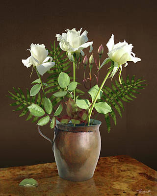 Digital Art - Three White Roses In Vase by Spadecaller