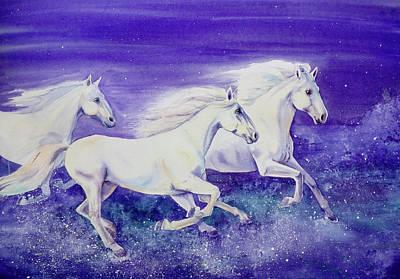 Three White Running Horses Original