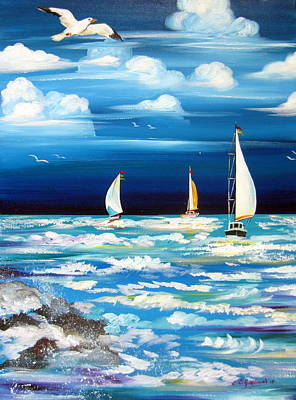 Painting - Three White Sails And A Seagull by Roberto Gagliardi