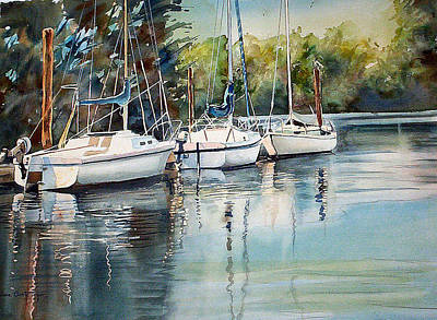 Painting - Three White Sails Docked by June Conte  Pryor