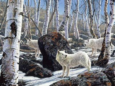 Painting - Three White Wolves by Brian Durfee