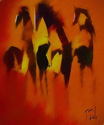 Digital Art - Three Wild At Sunrise by Terry Fiala