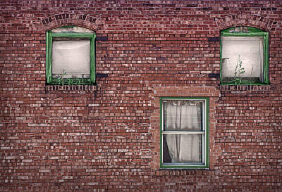 Photograph - Three Windows - Brick Building by Nikolyn McDonald
