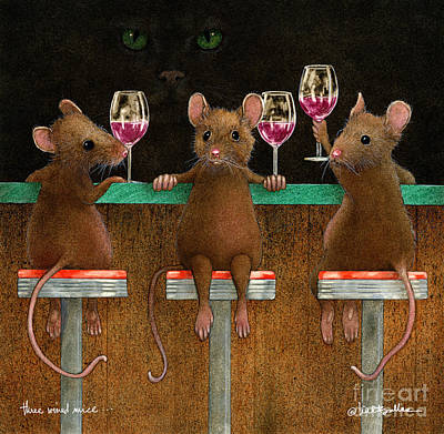 Painting - Three Wined Mice... by Will Bullas
