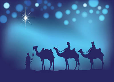 Digital Art - Three Wise Men Christmas Card by Serena King