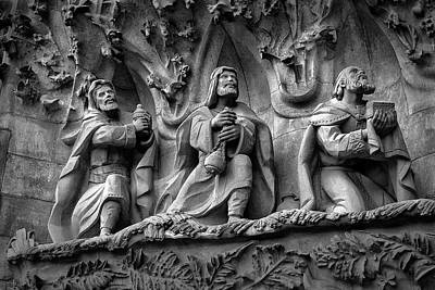 Photograph - Three Wise Men On Sagrada Familia Basilica by Phil Cardamone