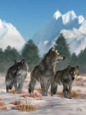 Digital Art - Three Wolves by Daniel Eskridge