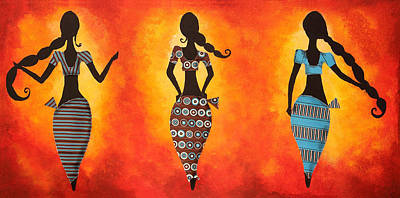 Sisters Drawing - Three Women by Nirdesha Munasinghe