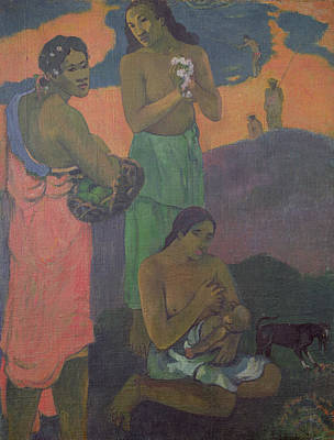 Three Women On The Seashore Print by Paul Gauguin