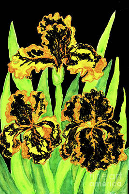Painting - Three Yellow-black Irises, Painting by Irina Afonskaya