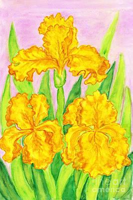 Iris Painting - Three Yellow Irises, Painting by Irina Afonskaya