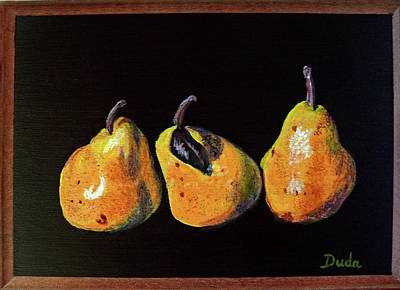 Painting - Three Yellow Pears by Susan Duda