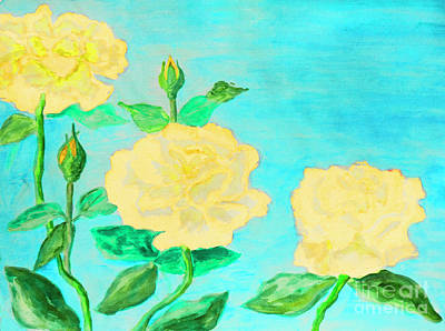 Painting - Three Yellow Roses by Irina Afonskaya