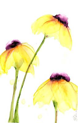 Painting - Three Yellow Wildflowers by Dawn Derman