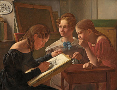 Painting - Three Young Girls. The Artist's Sisters. Alvilde, Ida And Henriette by Constantin Hansen