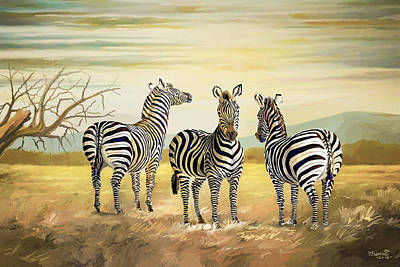 Painting - Three Zebras In Kenya by Anthony Mwangi