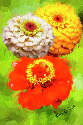 Digital Art - Three Zinnia Flowers. by Rusty R Smith