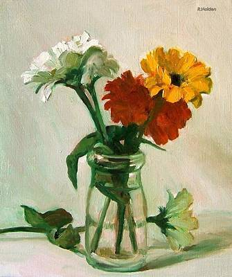 Painting - Three Zinnias In Old Cream Bottle by Robert Holden