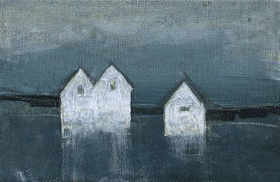 Painting - Threee Houses Lakeside by Tim Nyberg