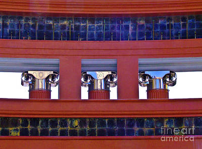 Threereflective Columns Art Print