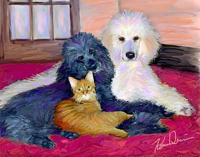 Poodle Digital Art - Three's Company by Karen Derrico