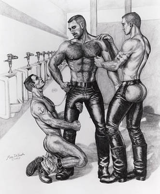 Homoerotic Drawing - Threeway In Tearoom by Marc DeBauch