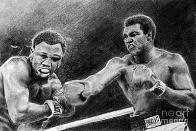 Drawing - Thrilla In Manilla Pencil Drawing by David Rives