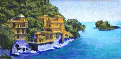 Portofino Italy Painting - Throngs To The Sea by David Zimmerman