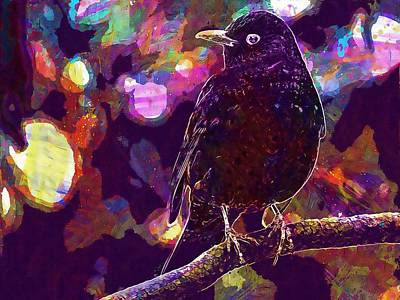 Digital Art - Throttle Turdus Philomelos Bird  by PixBreak Art