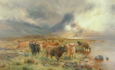 Bank Clouds Hills Painting - Through Glencoe by Louis Bosworth Hurt