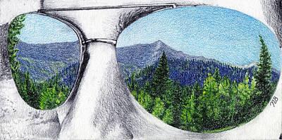 Aviator Glasses Drawing - Through My Eyes by Nils Beasley