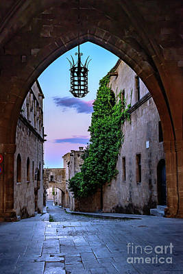 Photograph - Through The Archway Into Rhodes Town, Rhodes, Greece by Global Light Photography - Nicole Leffer