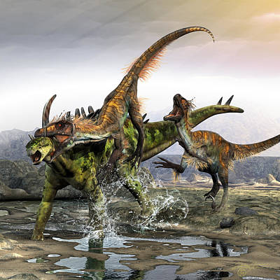 Triassic Digital Art - Through The Armor Of Gigantspinosaurus by Kurt Miller