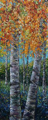 Painting - Through The Aspen Trees Diptych 1 by OLena Art Brand