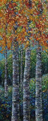 Painting - Through The Aspen Trees Diptych 2 by OLena Art Brand