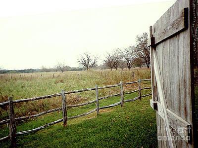 Photograph - Through The Barn Door - New York State Farmland by Merton Allen