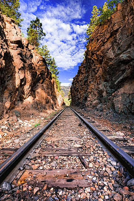 Photograph - Through The Cut - Durango Silverton Narrow Gauge Railroad Tracks - Colorado by Gregory Ballos
