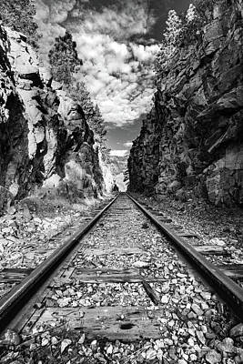 Photograph - Through The Cut - Durango Silverton Narrow Gauge Railroad Tracks - Colorado Monochrome by Gregory Ballos