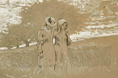 Winslow Homer Drawing - Through The Fields by Winslow Homer