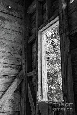Photograph - Through The Ice House Window, Black And White by Sharon McConnell