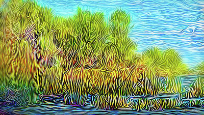 Digital Art - Through The Lake Reeds by Joel Bruce Wallach
