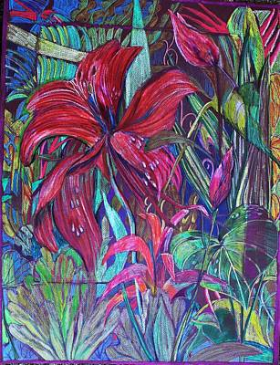 Reptiles Drawings - Through the Looking Glass Garden by Mindy Newman