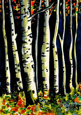 Painting - Through The Midnight Birch Trees by Elizabeth Robinette Tyndall
