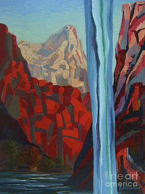 Art Print featuring the painting Through The Narrows, Zion by Erin Fickert-Rowland